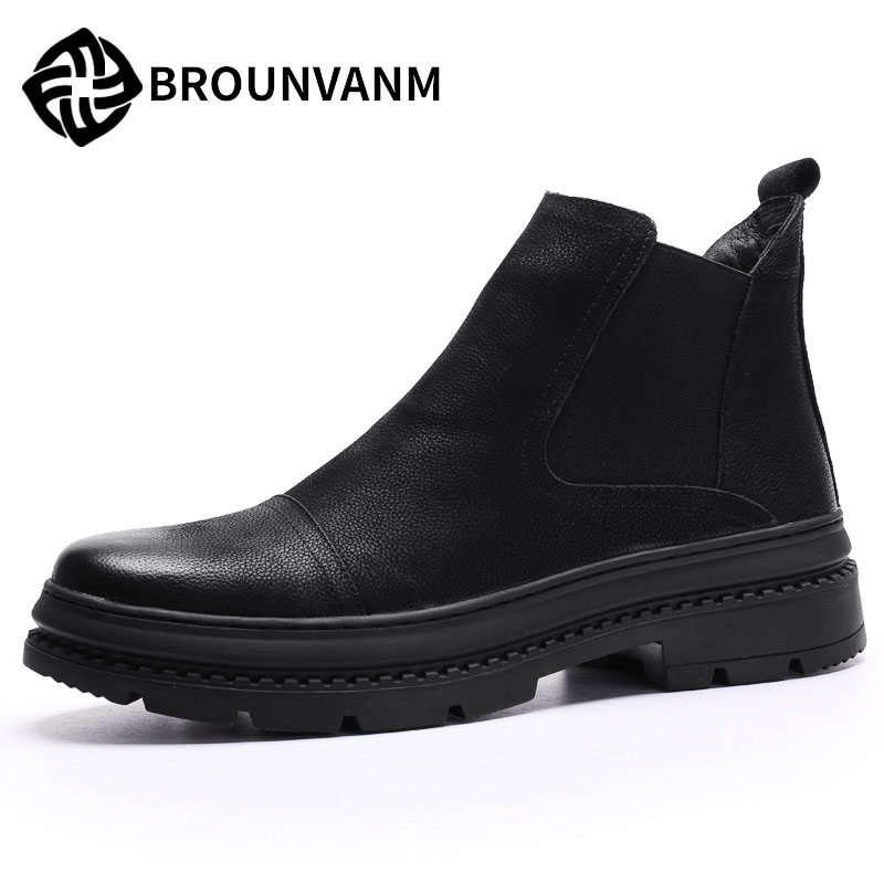 men Martin boots shoes Chelsea male fashion winter warm cashmere with shoes British retro breathable casual fashion martin boots men s high boots korean shoes autumn winter british retro men shoes front zipper leather shoes breathable
