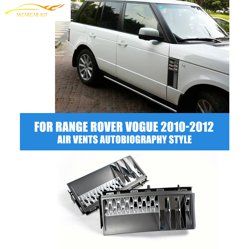 ABS Auto Car Side Air Vents Autobiography Style Fit For Land Range Rover Vogue L322 Facelift 2010-2012 дефлекторы окон novline темный для land rover range rover 2002 2012 комплект 4шт nld slrrr0232