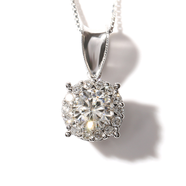 Queen Brilliance Solid 14K 585 White Gold 1 Ct F Color Moissanite Diamond Pendant Necklace With Real Diamond Accents For Women
