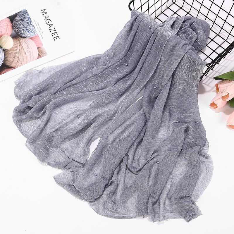 af1ced5e3ea1 Fashionable Ladies Glitter Hijab Ripple Hijab Wraps With Pearl Islamic  Muslim Plain Pleat Shimmer Headscarf Arabian