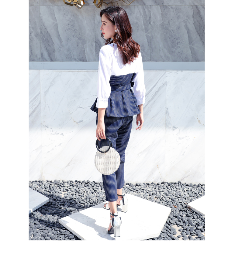 Office Lady Elegant 2PCS Pant Suit Set Women Blue Stripes Blouse And Trouser Suit Business Casual Outfits Woman Top With Pants Set Plus Size Clothings (13)