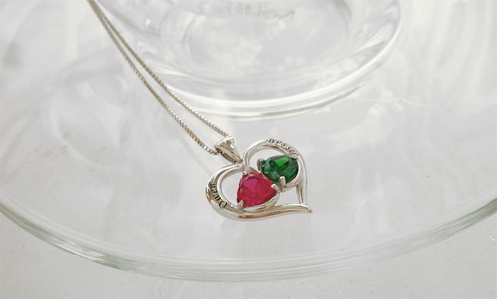 925 Sterling Silver Birthstones Engraved Necklaces Pendants  01