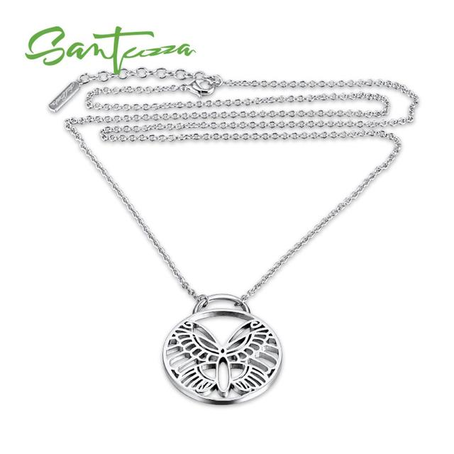 Santuzza Br Necklace For Woman Round Circle Erfly Pendant Wedding Band Party Fashion Jewelry