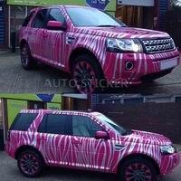 Pink White Zebra Pattern Camouflage Car Sticker PVC Self adhesive Wrap Vinyl Film Camo Automobiles Motorcycle Decal