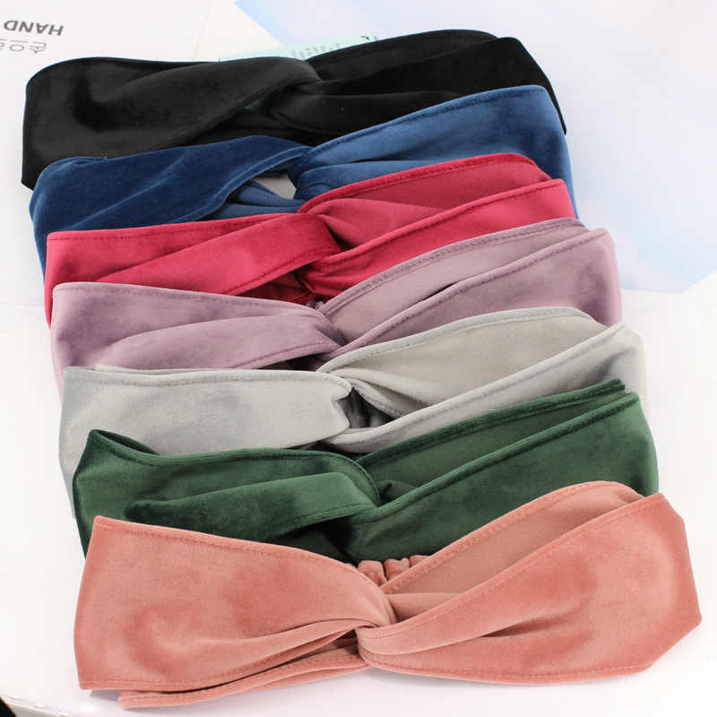 Корейский Бутик ободок для волос зимняя бархатная Крестовая широкая головная повязка в виде чалмы для женщин девочек повязки для волос аксессуары для упаковки головной убор
