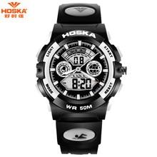 Новая Мода HOSKA Часы Мужчины 50 м Водонепроницаемый СВЕТОДИОДНЫЙ Спорт Военная Часы Шок мужская Аналоговые Кварцевые Цифровые Часы relógio masculino