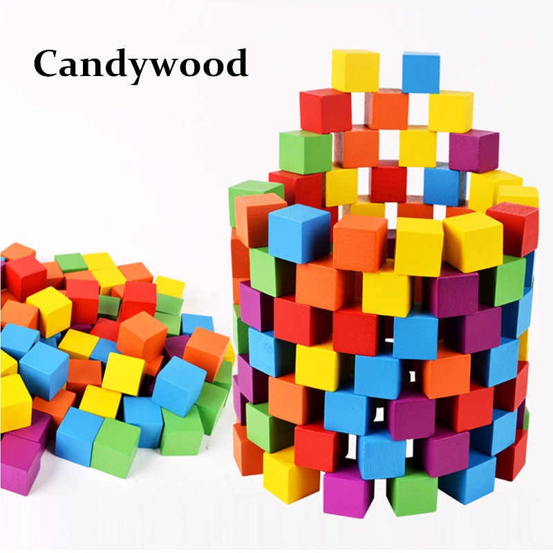 Candywood 100Pcs/lot Wooden Geometric Assembling blocks Toy Rainbow Color Early Intelligence Education Blocks for baby kids vtota new summer sandals women shoes woman platform wedge sweet flowers buckle open toe sandals floral high heeled shoes q75