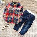 Moda infantil definir bebê set roupas meninos crianças shirt + calças de brim engrossar inverno quente roupas das meninas dos meninos roupas de outono novo chegada