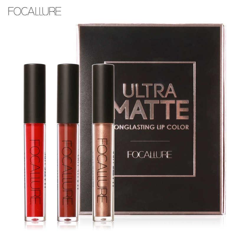 FOCALLURE 3Pcs Set Long Lasting Lip Colors Makeup Waterproof Tint Lip Gloss Red Velvet Ultra Nude