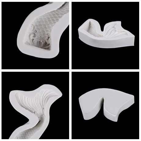 1 ピース DIY フォンダンケーキ型マーメイドテール/波/バルーン雲唇/レトロ花/動物/ 弓テーマ耐熱皿シリコーン型