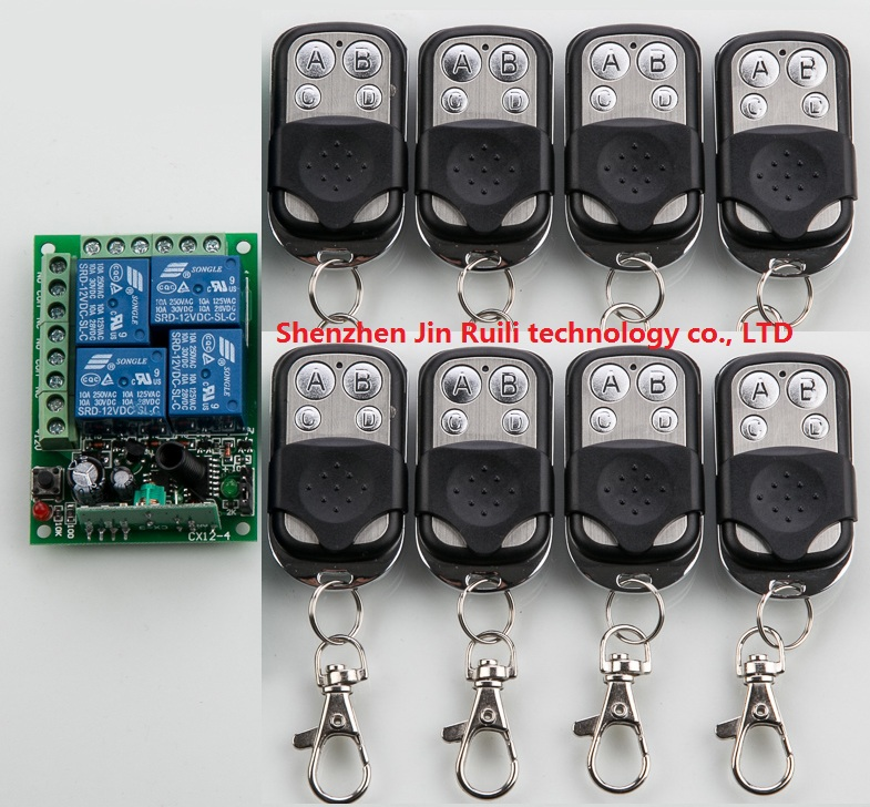 Hot Sale DC 12V 4CH Remote Control Relay Switch 8* Transceiver with 1*  Receiver 10--200M Wireless Remote 200m 4ch 4relay 12v wireless remote control switch system1 receiver