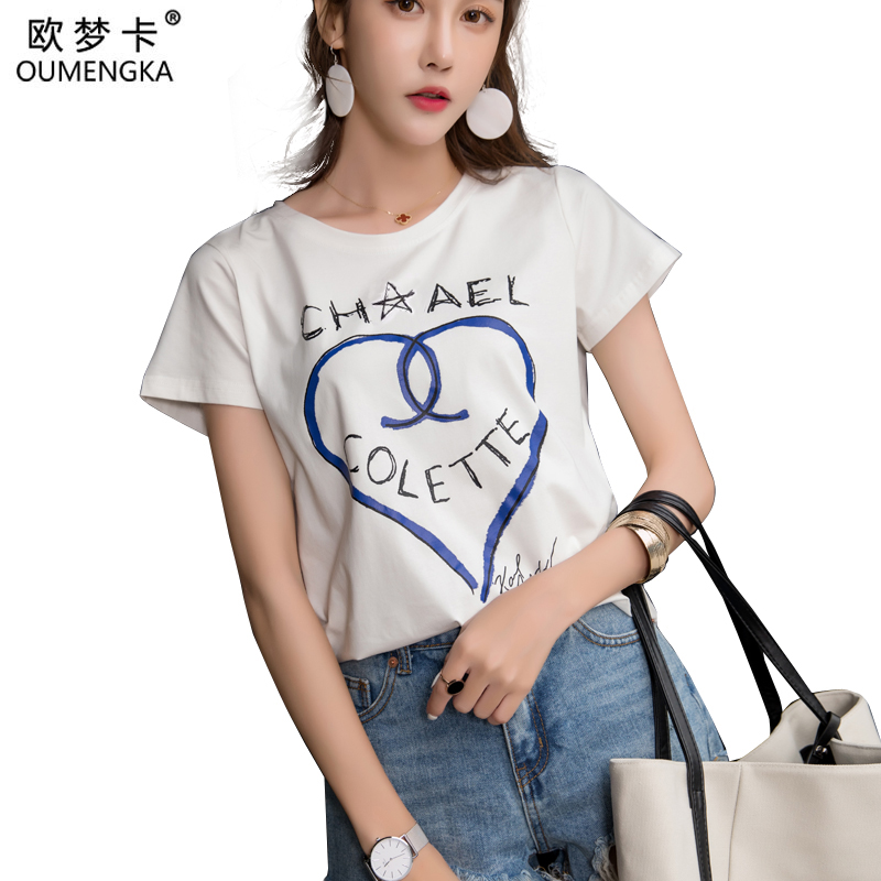 OUMENGKA Letter Print Cotton T-Shirt Women Basic Tee Black White T Shirt Casual tshirts Tops Outfits tees Shirts