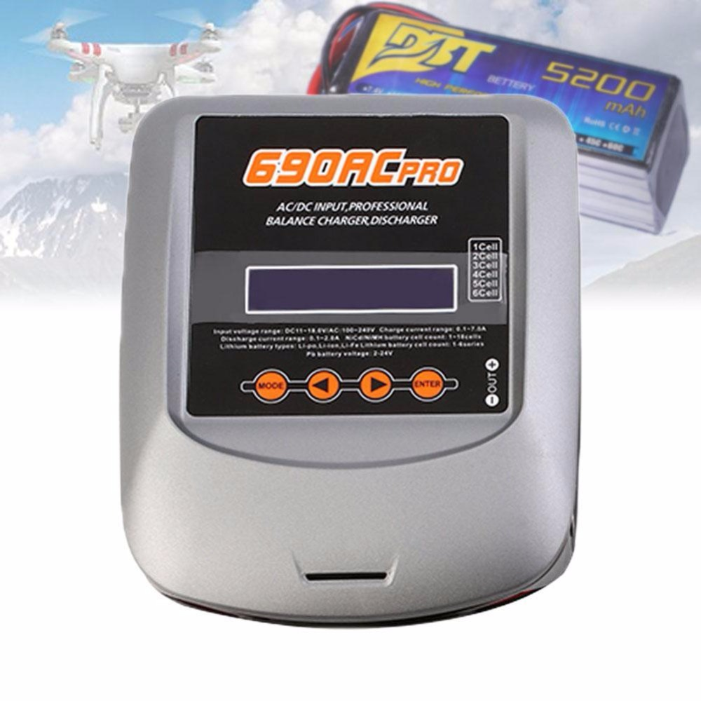ФОТО T690AC Pro 90W 10A Touch-Screen AC/DC LiPo Balance Charger RC Dual High Power