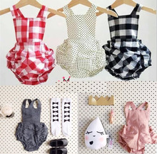 Hot selling 2017 summer kids Bobo choses romper baby Boys Girls cotton plaid Jumpsuit suspenders bread