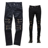 Mens Black Jeans Skinny Slim Fit Multi Metal Zipper Design Jeans 2016 Fashion Hip Hop Rock
