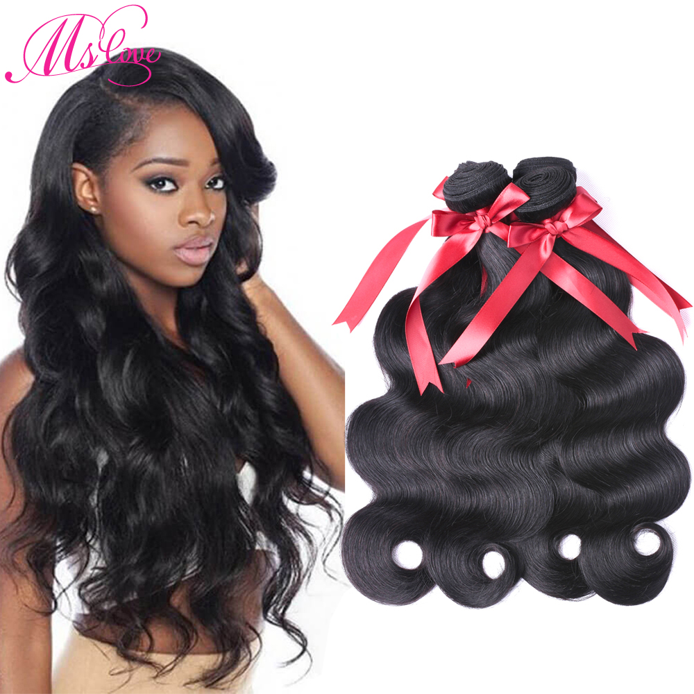 Ms Love Indian Body Wave Hair 4 Bundles Human Hair Extentions Non Remy Hair Natural Color human hair Extenisons