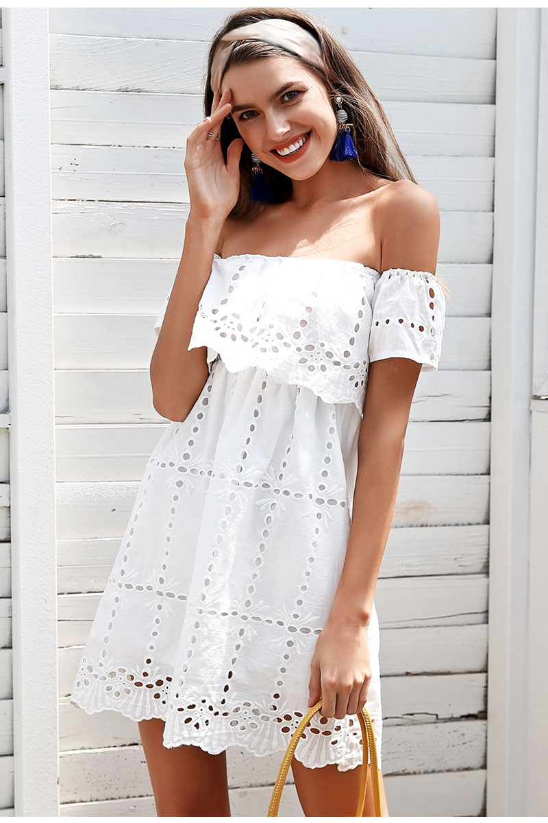 ec391c612e4d Simplee Off shoulder lace white dress Hollow out streetwear casual ...