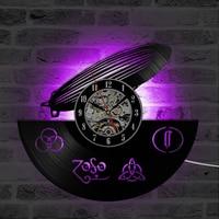 Circular Hollow Vinyl CD Record Clock Creative&Fashion Led Zeppelin Model Hanging LED Wall Clock Antique Style Wall Clock