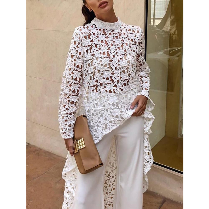 Hollow out lace   blouse   women Long sleeve turtleneck white   blouse     shirt   Runway fashion long hem white pink tops femme spring 2019