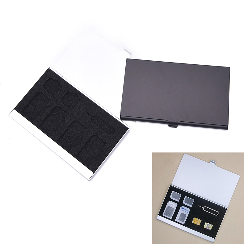 7 Slots Double Card Organizer Bag Aluminum Hard Micro Sd Memory Card SIM Card Storage Protection Double-layer Metal Storage Gift