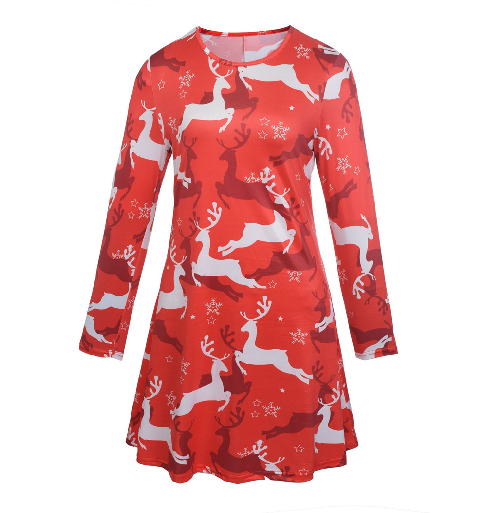 Cosplay Christmas Dress Santa Claus Dress Elk Snow man Print Print Dress for women Fashion Dress Christmas costume