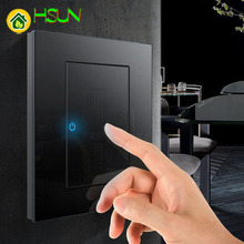 86 Type Black Tempered glass Switch 1 2 3 4 gang way Lizard Point Comuter TV Telephone Socket Household Wall