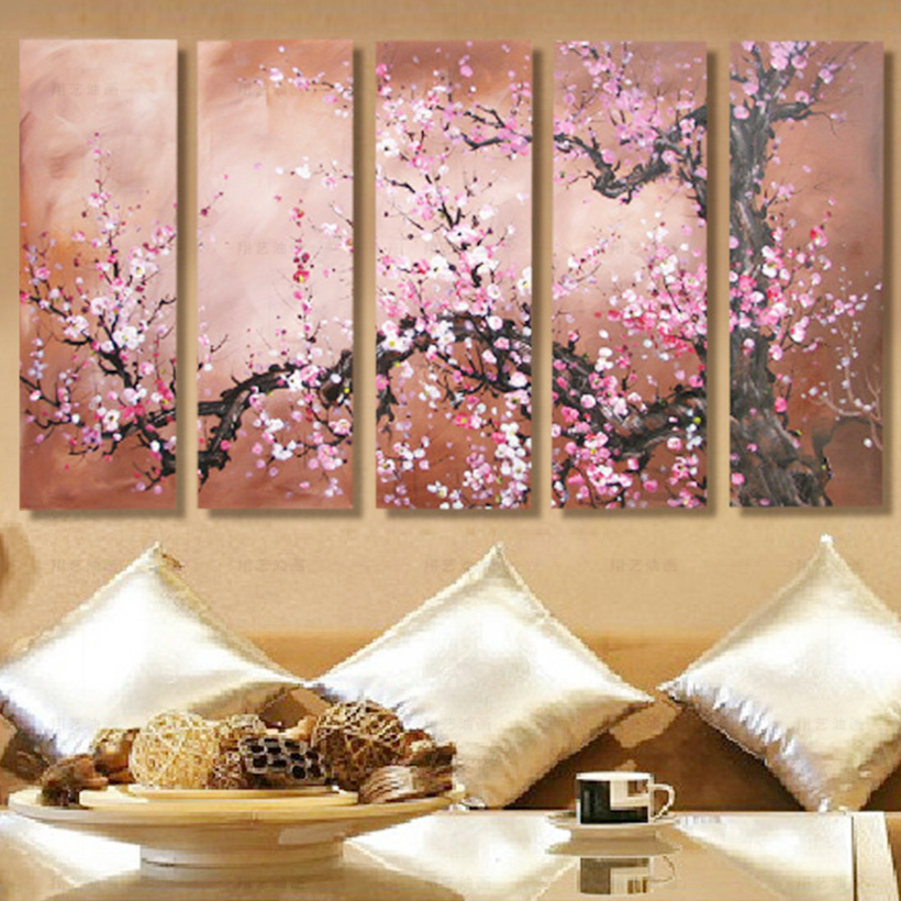 5 Piece Canvas Art Painting Home Decoration Wall Art Canvas Plum Oil Painting Picture Print On Canvas for Living Room No Frame