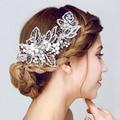 Elegante Flor de La Hoja de Plata Hechos A Mano de Perlas de Cristal de Boda Pinza de Pelo Barrette Nupcial Celada accesorios para El Cabello