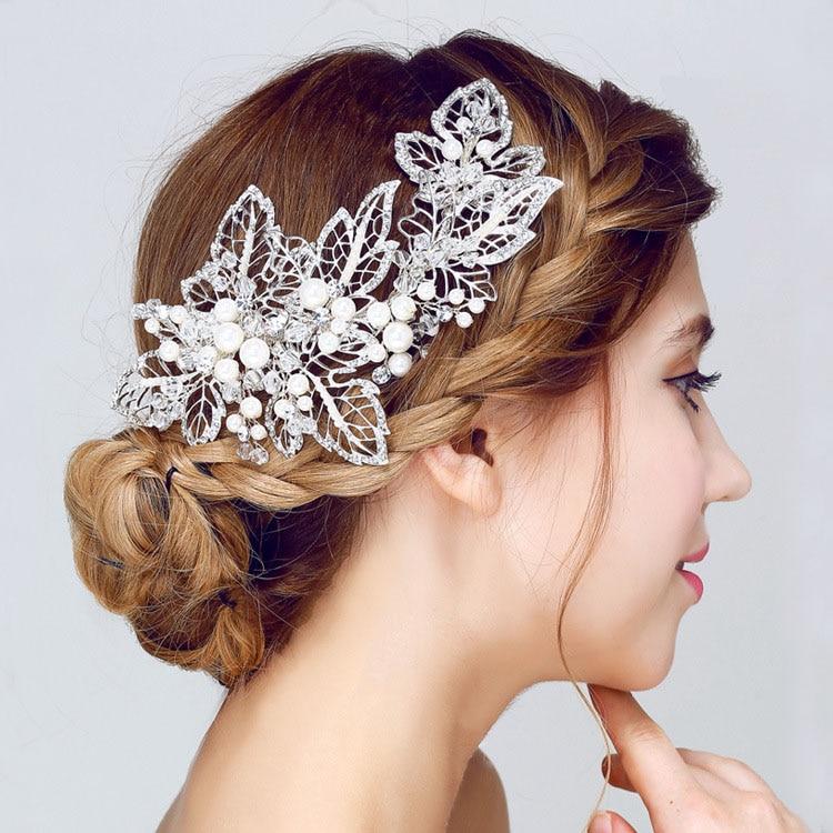 SLBRIDAL Χειροποίητο Ασημί Χρώμα Μαργαριτάρια Φύλλο Λουλουδιών Γάμος Κλιπ Μαλλιών Νυφικά Headpieces Αξεσουάρ μαλλιών Παράνυμφοι