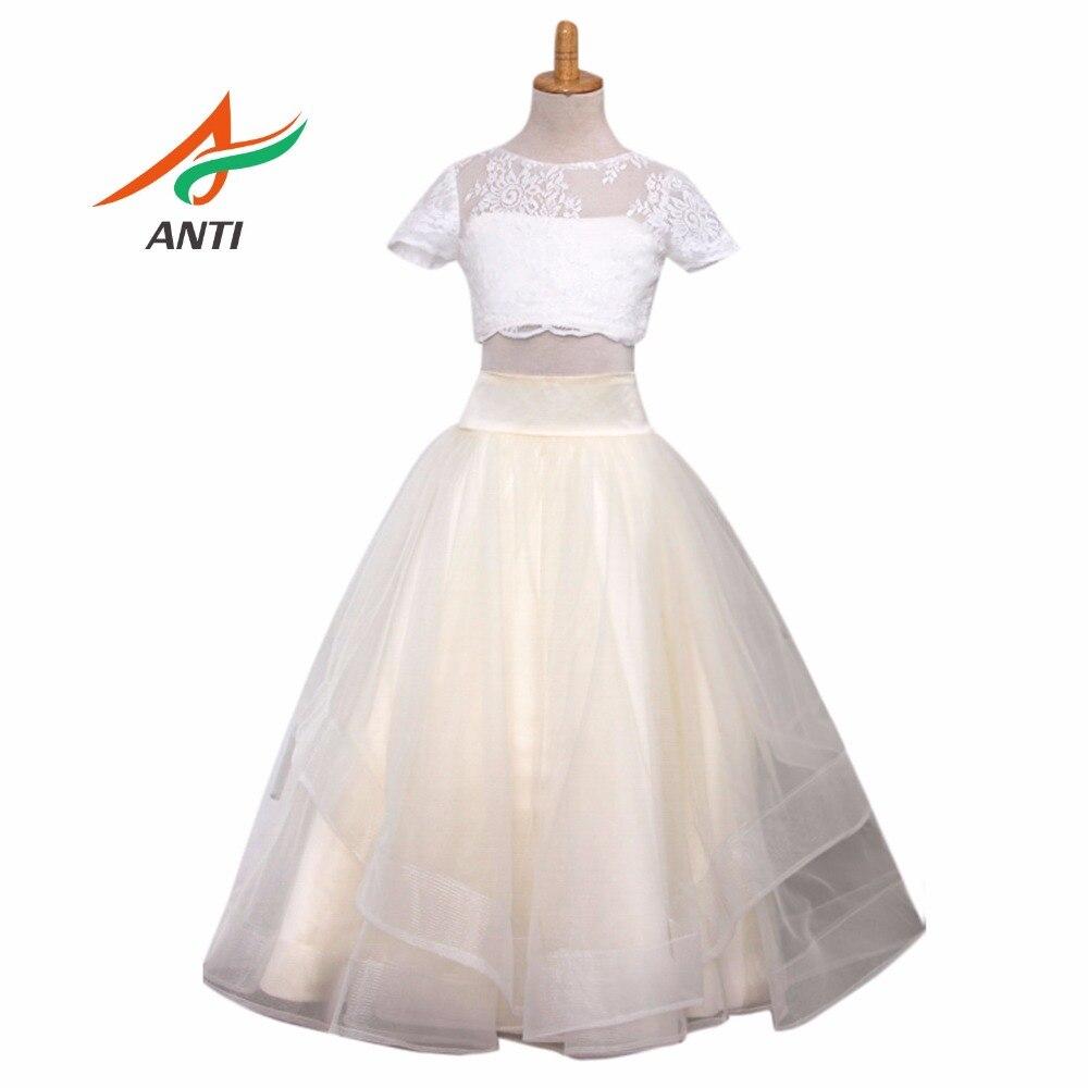 Us 7426 21 Offanti 2018 Flower Girl Dresses Scoop Short Vestidos De Primera Comunion White And Yellow Children Kids Frock Designs Girls Cfg In