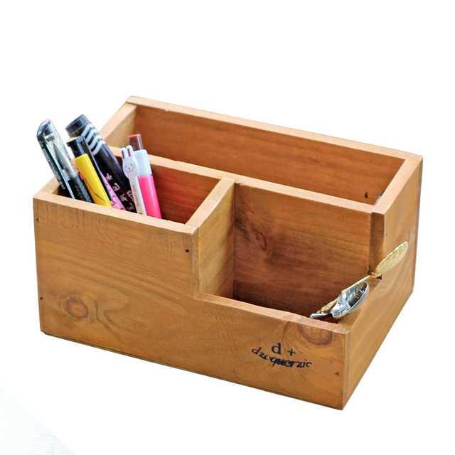 Attrayant Pencil Case Wooden Case Holder Treasure Chests Vintage Retro Wooden Storage  Boxes Multifunction Jewelry Trinket Storage