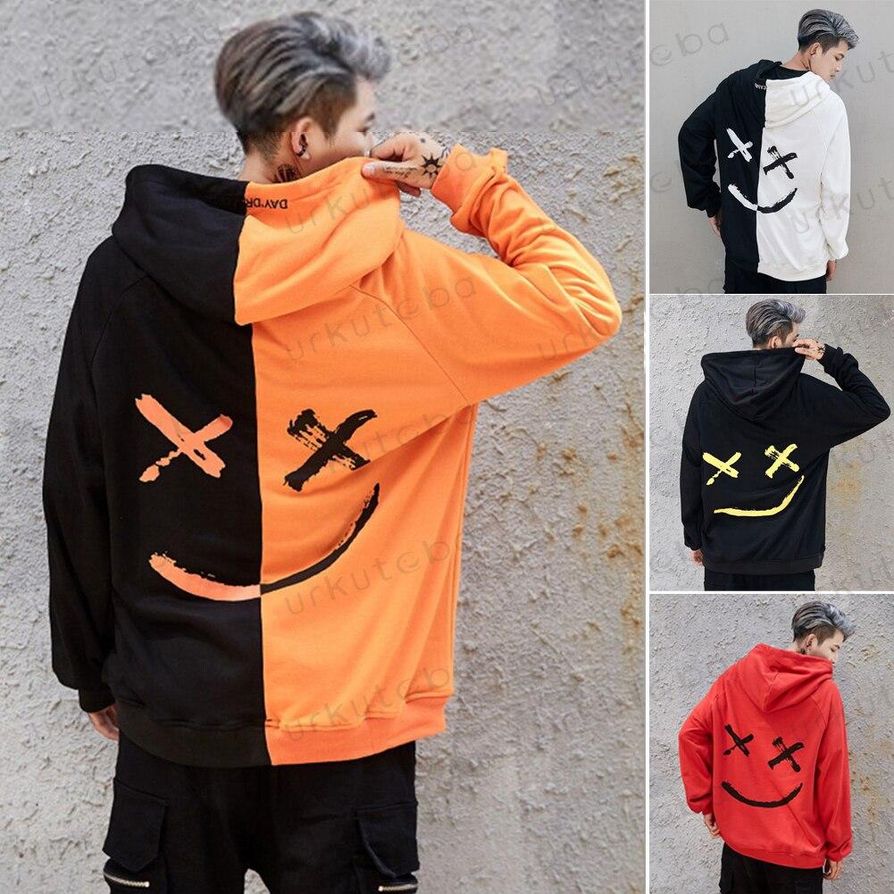 HTB1uq36X5YrK1Rjy0Fdq6ACvVXaN 2019 New Men Hoodies Sweatshirts Smile Print Headwear Hoodie Hip Hop Streetwear Clothing Us size Plus Size 3XL