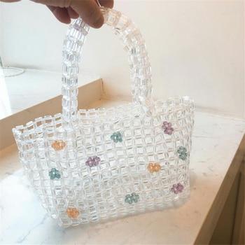 Brand Hand-woven Acrylic Pearls bag crystal beaded Flower handbag women Transparent hollow tote bag 2019 summer luxury Beach bag