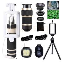 Mini Tripod 8X Telescopic Zoom Telephoto Lenses Mobile Lens Wide Angle Macro Fish Eye Lentes Selfie