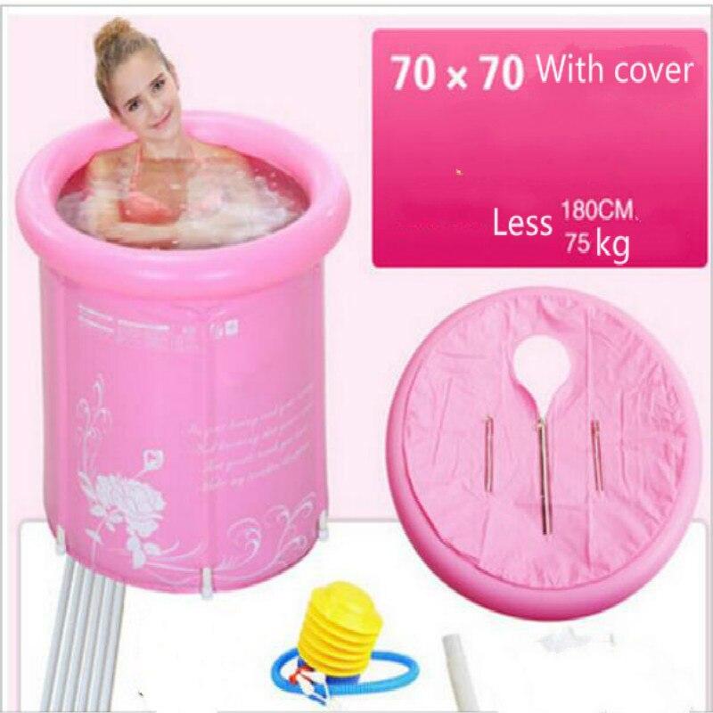Baignoire gonflable épaisse pliable de baignoire de PVC pour des enfants et l'adulte avec la baignoire écologique rose/bleue de couvercle