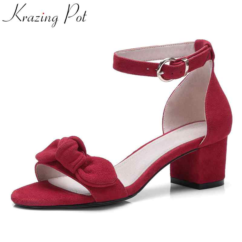 Krazing Pot 2018 peep toe sheep suede buckle strap med heels butterfly-knot sweet meeting preppy style women sandals shoes L05 krazing pot sheep suede rabbit fur superstar preppy style bowtie casual shoes pointed toe flats sweet women outside slippers l71