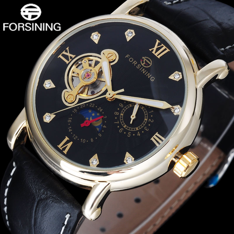 FORSINING luxury brand men mechanical Tourbillon watches leather strap hot fashion men s automatic skeleton gold