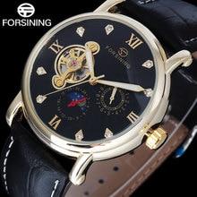 FORSINING люксового бренда мужчин механические часы Tourbillon кожаный ремешок горячая мода мужская автоматическая скелет золотые часы relojes