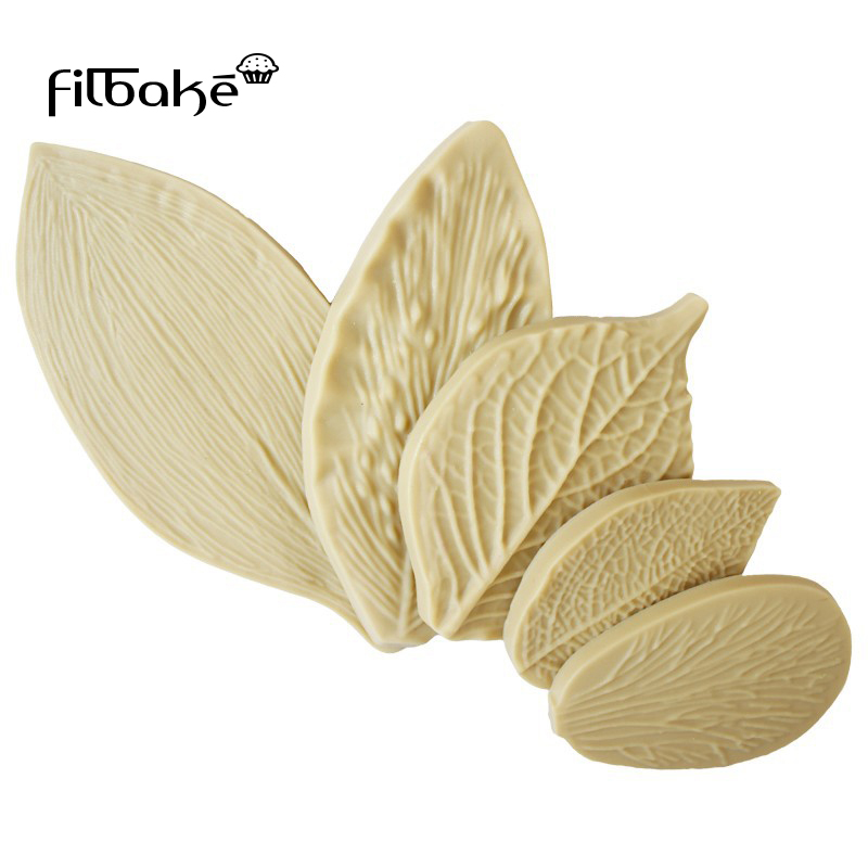 Filbake 5pcs Fondant Cake Decorating Tools Silicone  Mold Flower Making Paste Peony Rose Floral Petal Leaf Veiner Mould