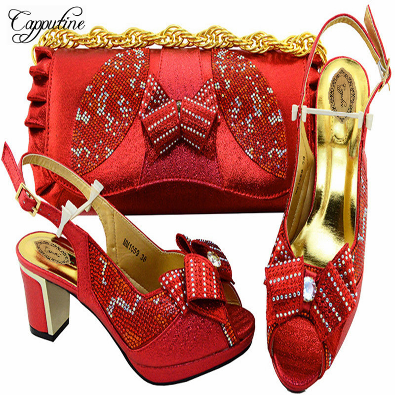 Capputine 2018 Red Color High Pumps Sandals With Bag Set Italian Women Wedding Party Shoes And Bags Set 7Colors Stock M10596 something red wedding shoes customized sparkly diamond red high heels platfrom party evening shoes italian shoes and bag set