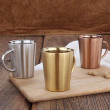 Stainless Steel Double-Layer Kopi Kreatif Rose Emas Cangkir Air Isolasi Anti Panas Bir Mug Cangkir Minum(China)