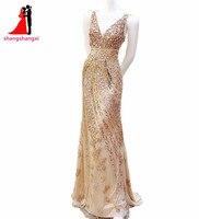 Złoty Długi Wieczór Party Suknie V Neck Zroszony Syrenka Backless balu Formalna Suknia Abendkleider Szata De Wieczór Vestido De Festa 59