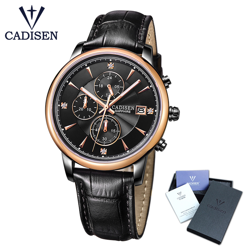 CADISEN Top Men Watch luxury simple fashion business chronograph water resistant calendar mens wrist watch leather band the north face ski tuke iv os t0a6w6