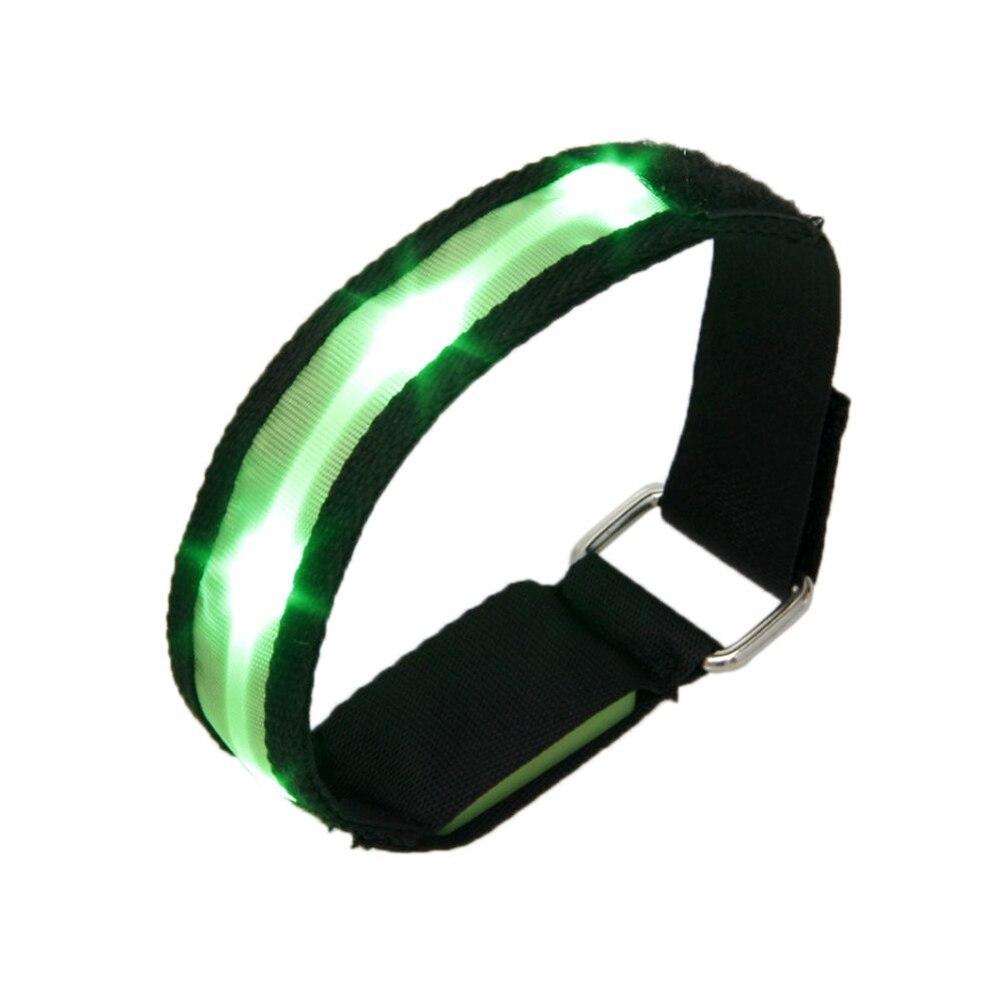 High Visibility Running Cycling Adjustable Reflective LED Flashing Fabric Armband Green
