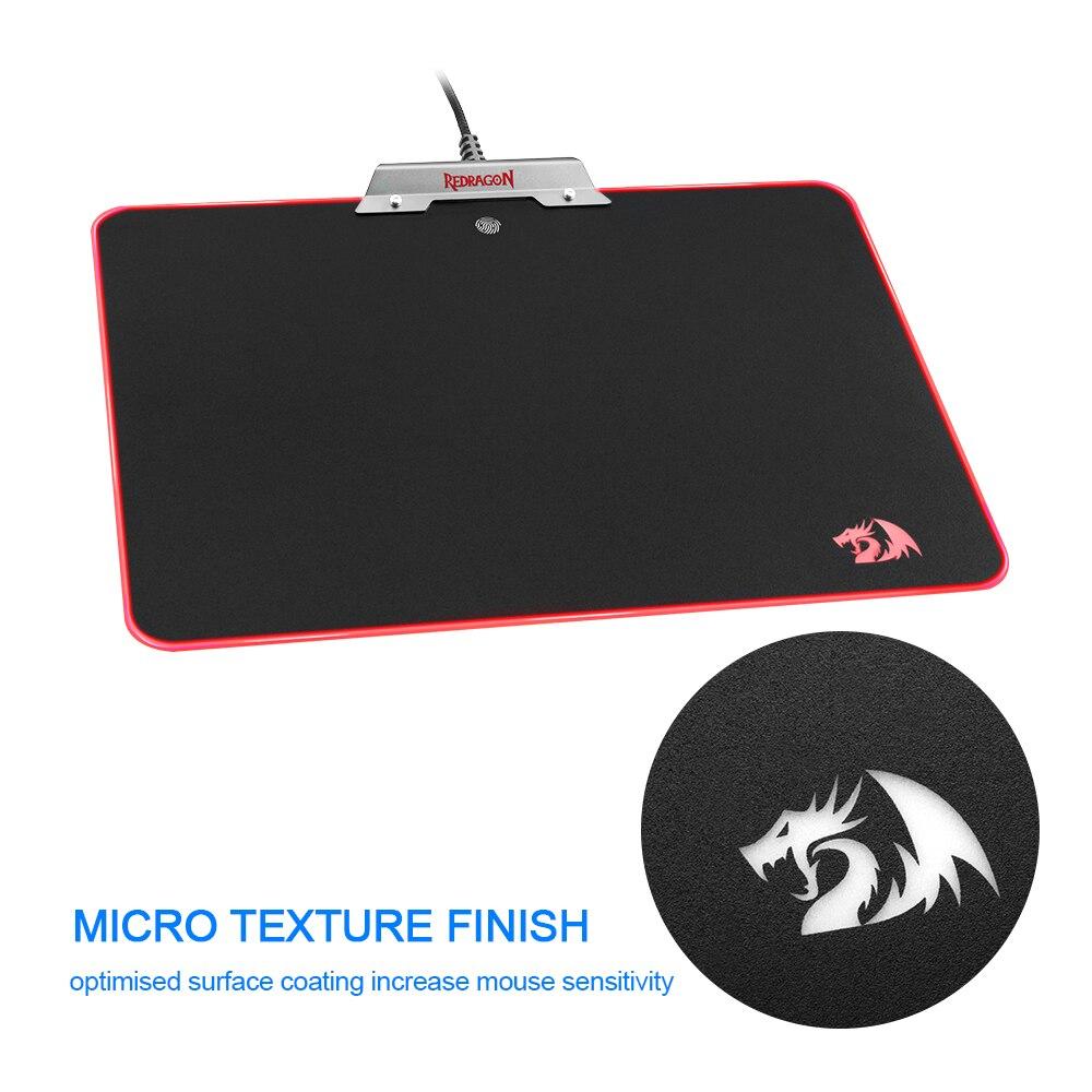 Redragon RGB tapis de souris de jeu USB tapis de souris noir tapis de souris de jeu avec rétro-éclairage pour ordinateur portable ordinateur portable pour jeu de bureau
