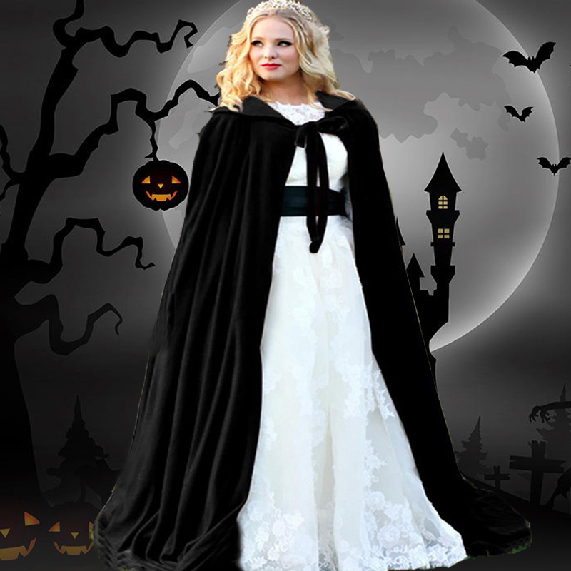 Halloween Mantle Hooded Cloak Coat Velvet Wicca Robe Vampire Cape Shawl Halloween Cosplay Party Witch Wizard Costumes