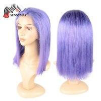 Sunnymay Color púrpura encaje completa pelucas del pelo humano Bob peluca recta virginal malasio Hair Pre Plucked pelucas llenas del cordón con pelo del bebé