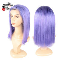 Sunnymay Purple Color Full Lace Human Hair Wigs Straight Bob Wig Malaysian Virgin Hair Pre Plucked Full Lace Wigs With Baby Hair