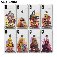 Ahsoka Tano Aertemisi BB8 Boba Fett Bossk C3PO Chewbacca Darth Maul Limpar TPU Tampa Do caso para o iphone 5 5S SE 6 6 s 7 8 Plus X(China)