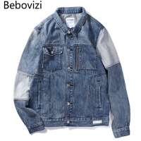 Bebovizi New Fashion Japanese Street Style Men Washed Denim Jacket Retro Old Cowboy Clothing Man Stitching Jacket Coat